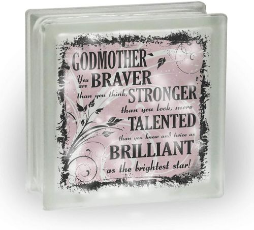 (Title) You are Braver Than You Think Frosted View Decoration Glass Block w/White Lights -PINK
